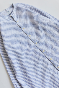 GUARDI BAND COLLAR SHIRT - WHITE / INDIGO STRIPE