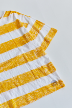 Load image into Gallery viewer, JAMAL BLOCK PRINTED BIG TEE - SUNSHINE YELLOW RUGBY STRIPE