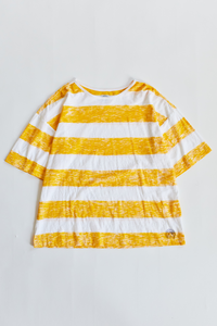 JAMAL BLOCK PRINTED BIG TEE - SUNSHINE YELLOW RUGBY STRIPE