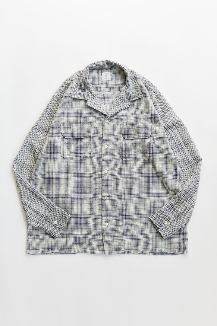 PIONTA CAMP SHIRT - WHITE / INDIGO WOOL GAUZE