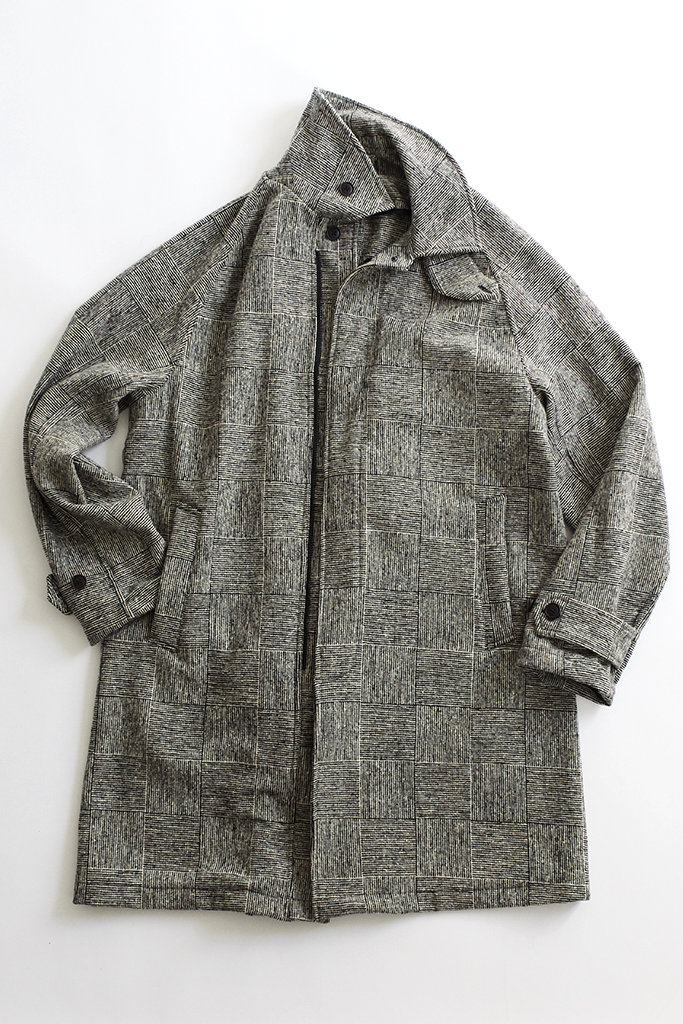 BAL COAT - BLACK/WHITE MOLLOY & SONS DONEGAL BASKETWEAVE TWEED