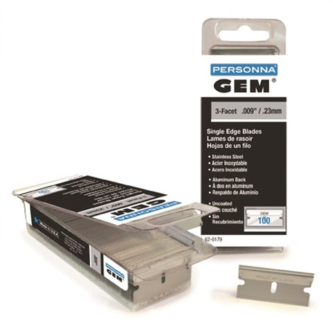 "1"" GEM STAINLESS SINGLE EDGE BLADES (100 PACK)"