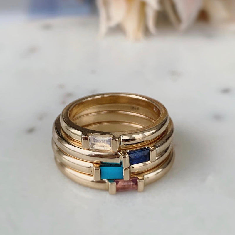 Baguette Birthstone Stacking Rings
