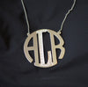 Extra large block monogram pendant with Cz