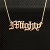 Gothic Nameplate with Cuban Chain