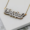Script Double Nameplate with Rolo Link Chain