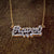 Script Double Nameplate Shadow Back with Cuban chain