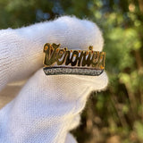 Script Design Name Ring with Cz Tail