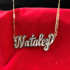 Solid Back Double Nameplate with Figaro Chain
