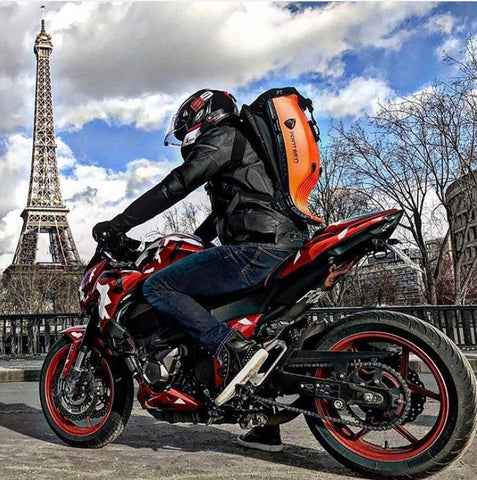 Lava Orange Boblbee Backpack. Hard-shell motorcycle backpack
