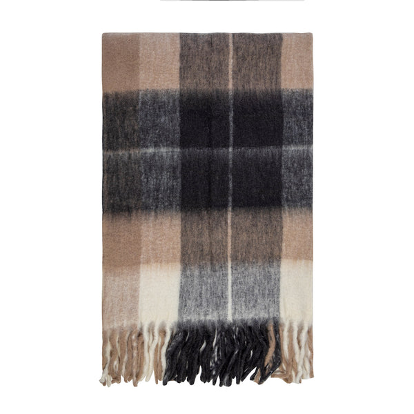 BLISS MOHAIR BLEND WINTER CHECK THROW BUMBLE FRINGE BEIGE/CHOCOLATE