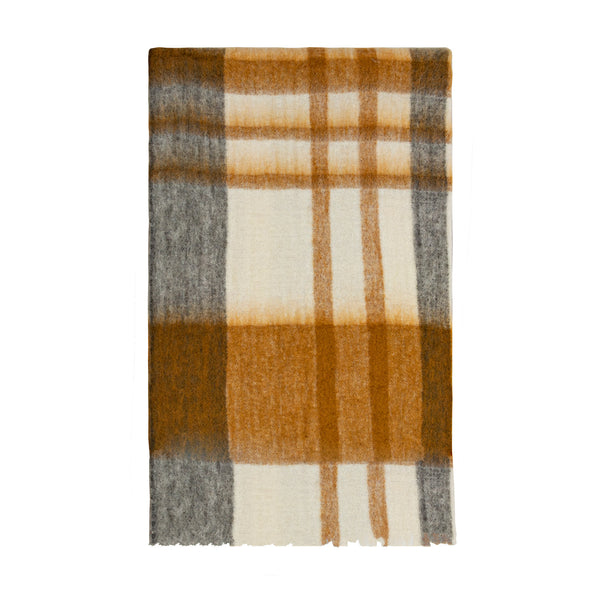 BLISS MOHAIR BLEND WINTER CHECK THROW EYELASH FRINGE WHITE/MUSTARD