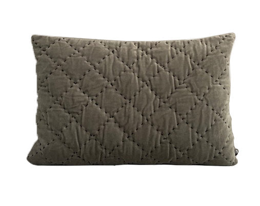 Velvet Quilted Maja Cushion - Green Bay