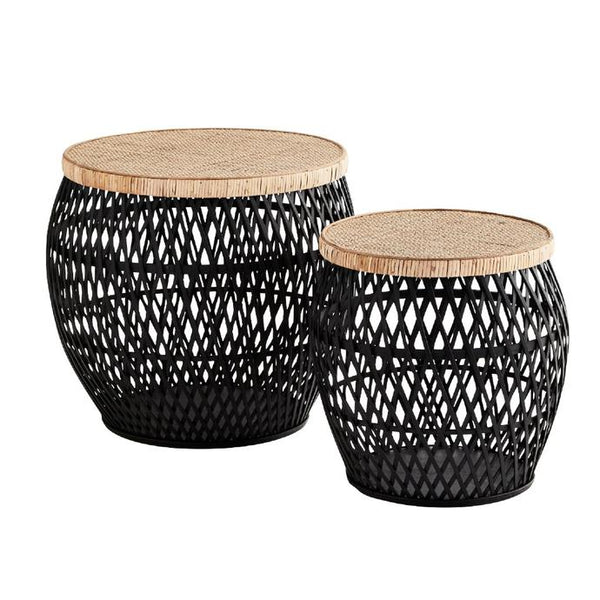 Madam Stoltz Rattan Side Tables -  Black/Natural - 2 sizes