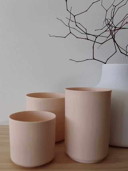 Hübsch Porcelain Tealight holder  set of 3 - light pink
