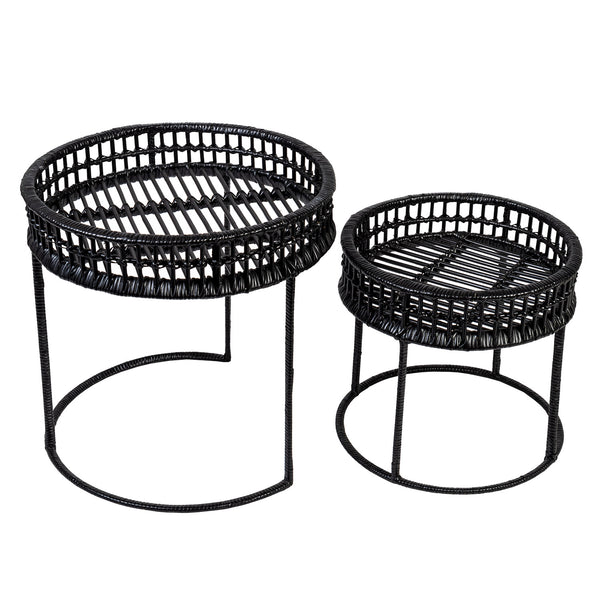RATTAN SIDE TABLE ROUND SET OF 2 BLACK