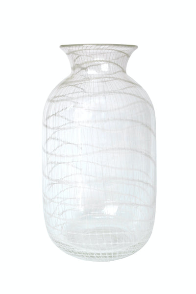 Clear Vase w/White Net - Tall