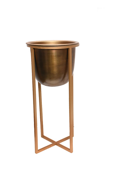 Atlas Short Metal Floor Standing Planter Antique Brass 47cm
