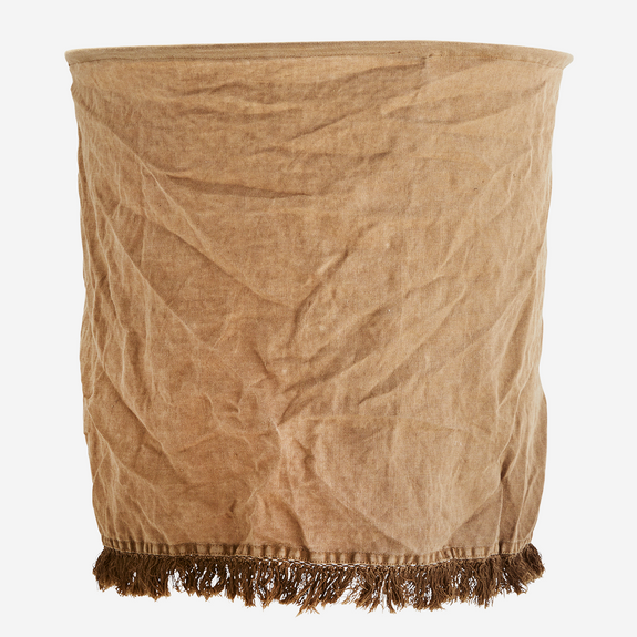 MADAM STOLTZ LINEN LAMPSHADE W/ FRINGES - BROWN SUGAR