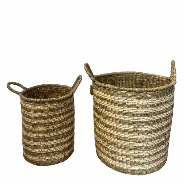 Stripe Seagrass Baskets - 2 sizes