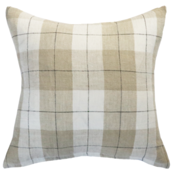 Mulberi 100% Linen Willis Cushion - nougat/ivory