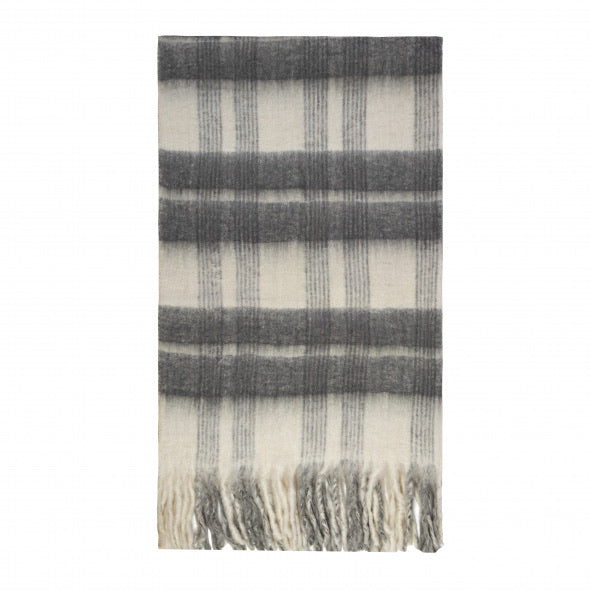 Bliss Mohair Blend Winter Check Throw Bumble Fringe White/dark Grey