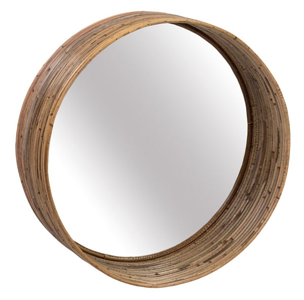 STRIPED III ROUND MIRROR 600MM DIA X 200MM GREY