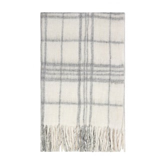BLISS MOHAIR BLEND WINTER CHECK THROW BUMBLE FRINGE WHITE/LIGHT GREY