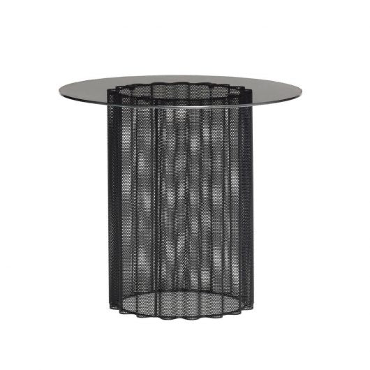 Hubsch Table, glass/metal, black/frosted