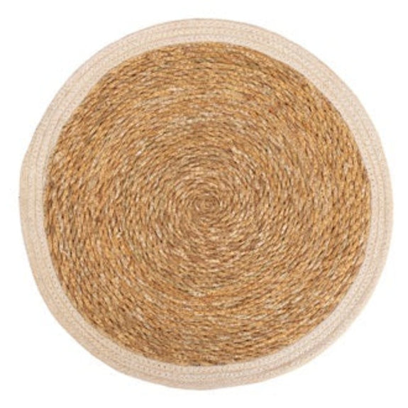 JUTE RND PLACEMAT W/WH BORDER - set of 6