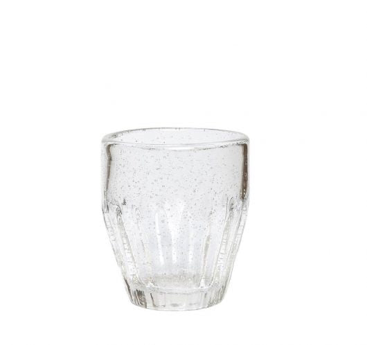Drinking glass w/grooves , clear, small