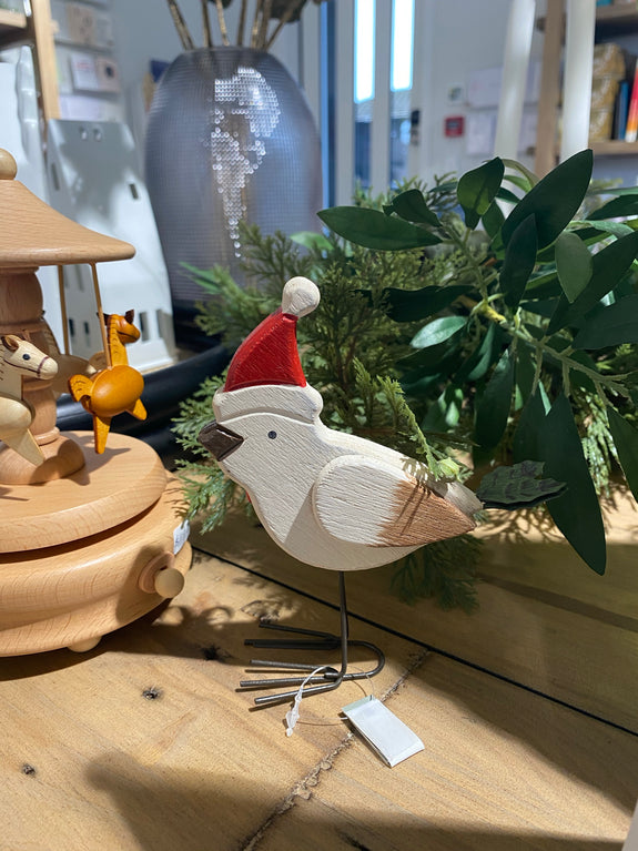 Wooden Small Bird with Hat