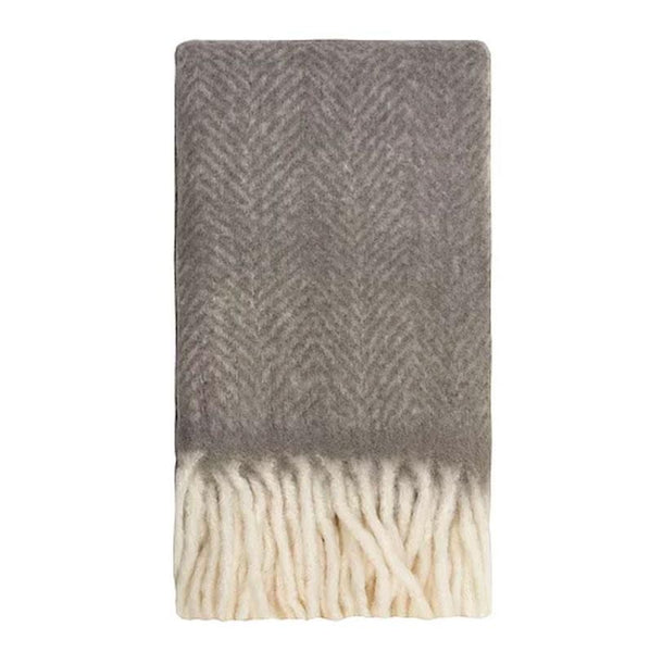 Bliss Mohair Blend Herringbone Throw With Bumble Fringe 130 X 170cm Charcoal