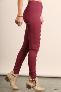 WINE DISTRESSED JEGGING