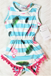 KK FLAMINGO STRIPE ROMPER