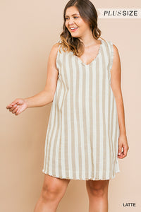 'NEW IDEAS' STRIPED LINEN DRESS