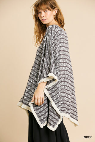 KNIT STRIPE FRINGED PONCHO