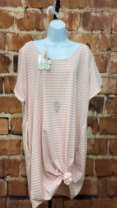 STRIPE PINK TEE DRESS