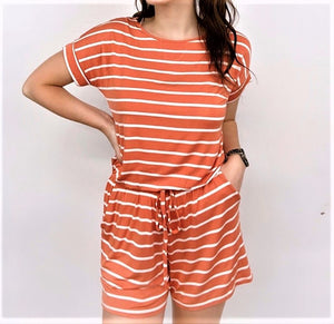 STRIPED SHORT ROMPER