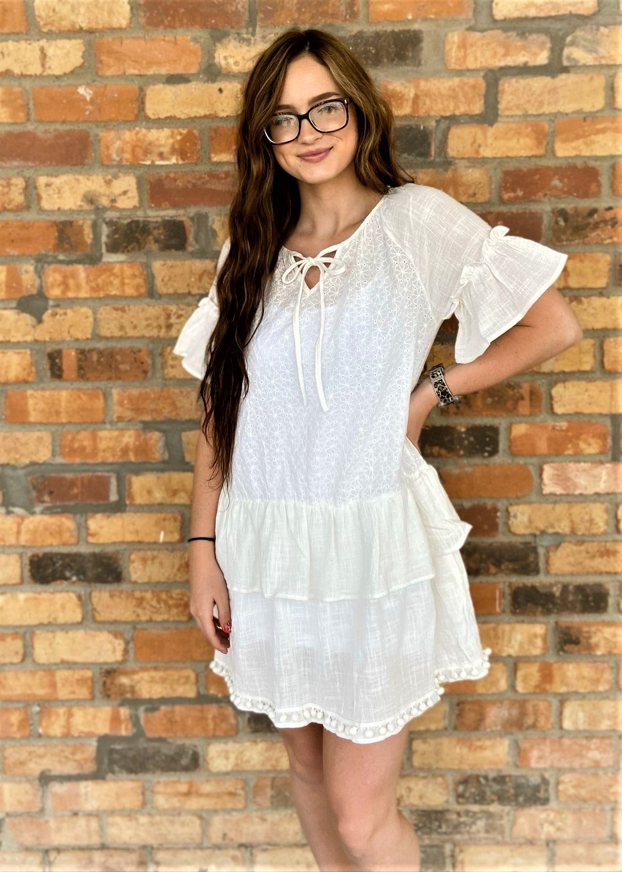 WHT FLRL LACE DRESS