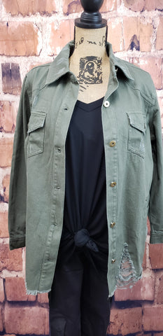 Distressed Denim Jkt-Olv