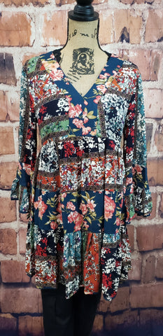 Patch Floral Print Tunic