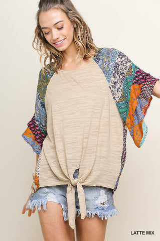 MIX PRINT BELL SLV KNIT TOP