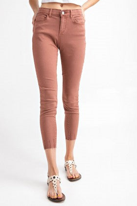 DRIED ROSE CUT EDGE JEGGINGS