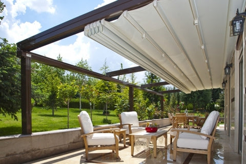Automatic Retractable Roof PVC Pergola Awning With LED Lights