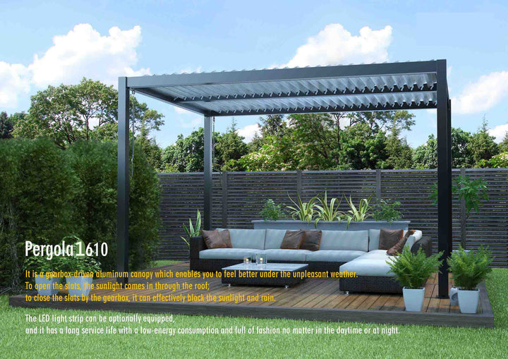 1610  Hot Sale Cheaper Price  with Promotion Price Aluminium Pergola by Manul Control