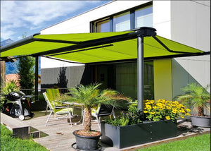 DS8200 aluminum manual retractable double side free standing awning/awnings for patio garden
