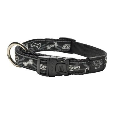 Rogz Fancy Dress Collar Black Bones Lge