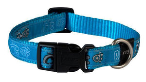 Rogz Fancy Dress Collar Turquoise Paws Lge