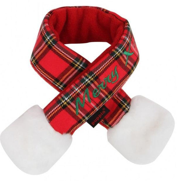 Santa Scarf Checkered Red Med
